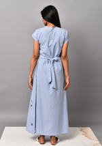 Load image into Gallery viewer, Wan Blue Tie-up Maxi Dress