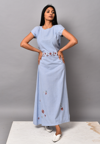 Wan Blue Tie-up Maxi Dress