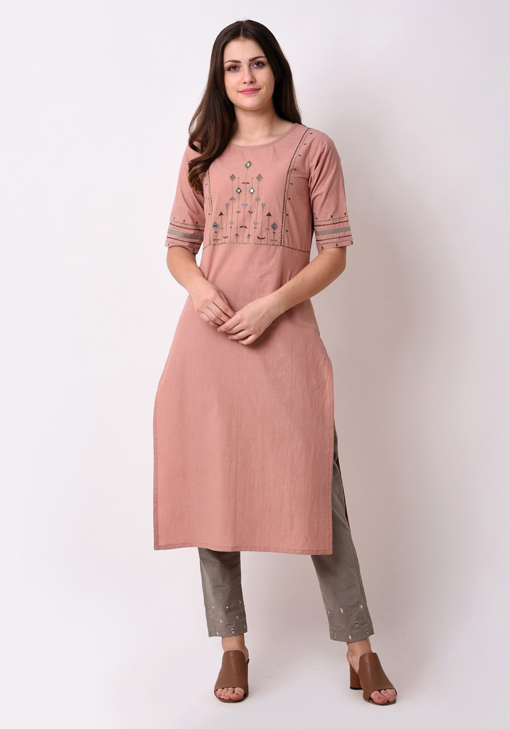 Tribal Embroidered Yoke Peach Kurta Set