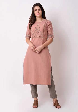 Tribal Embroidered Yoke Kurta - Peach