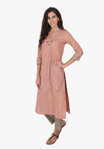 Tribal Embroidered V- Neck Peach Kurta Set