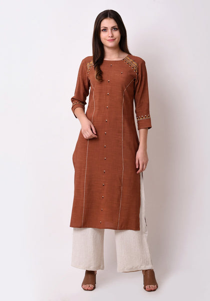 Embroidered Straight Brown Kurta Set
