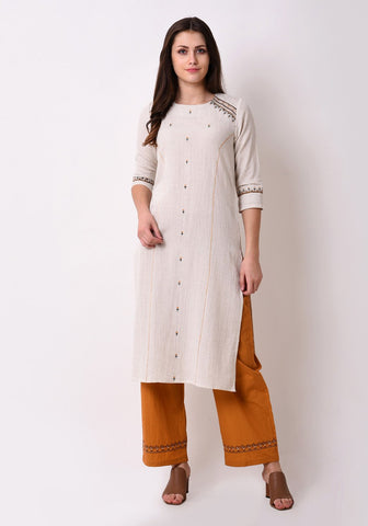 Embriodred Straight After Glow Kurta Set