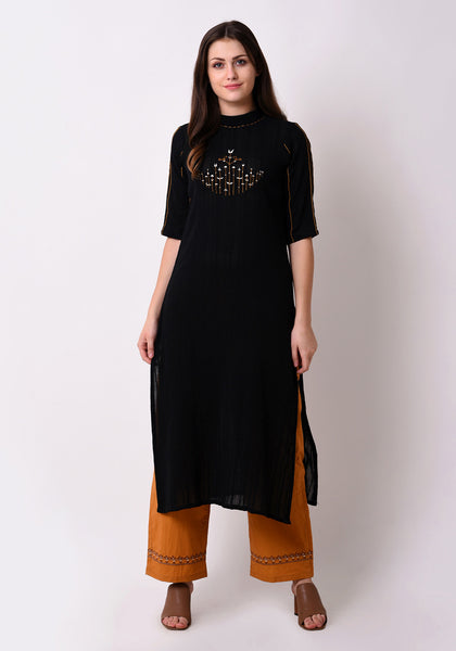 Turtle Neck Embroidered Kurta - Black