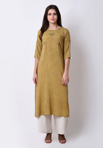 Slub Embroidered Kurta - Apple Green