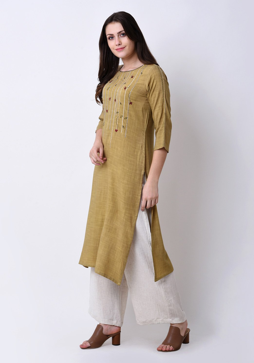 Floral Embroidered Apple Green Kurta Set