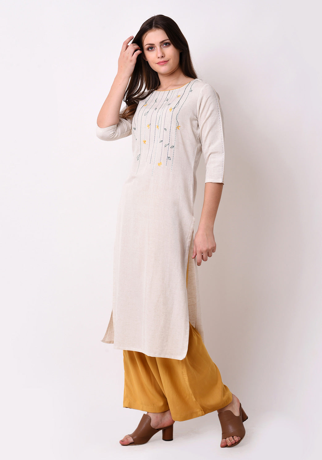 Floral Embroidered Kurta - After Glow