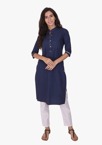 Basic Navy Blue Straight Kurta Set