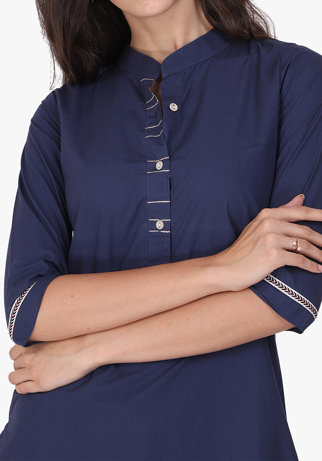 Basic Navy Blue Straight Kurta