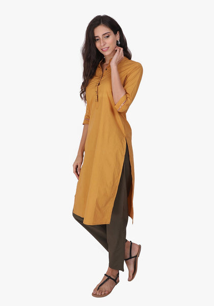 Basic Mustard Straight Kurta Set