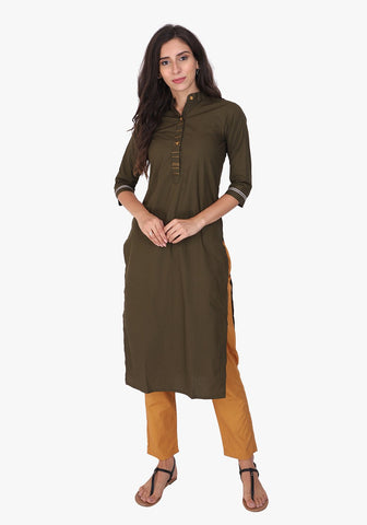 Basic Army Green Straight Kurta Set
