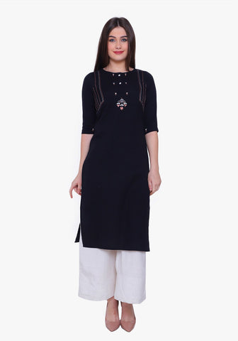 Embroidered Button-down Black Kurta Set