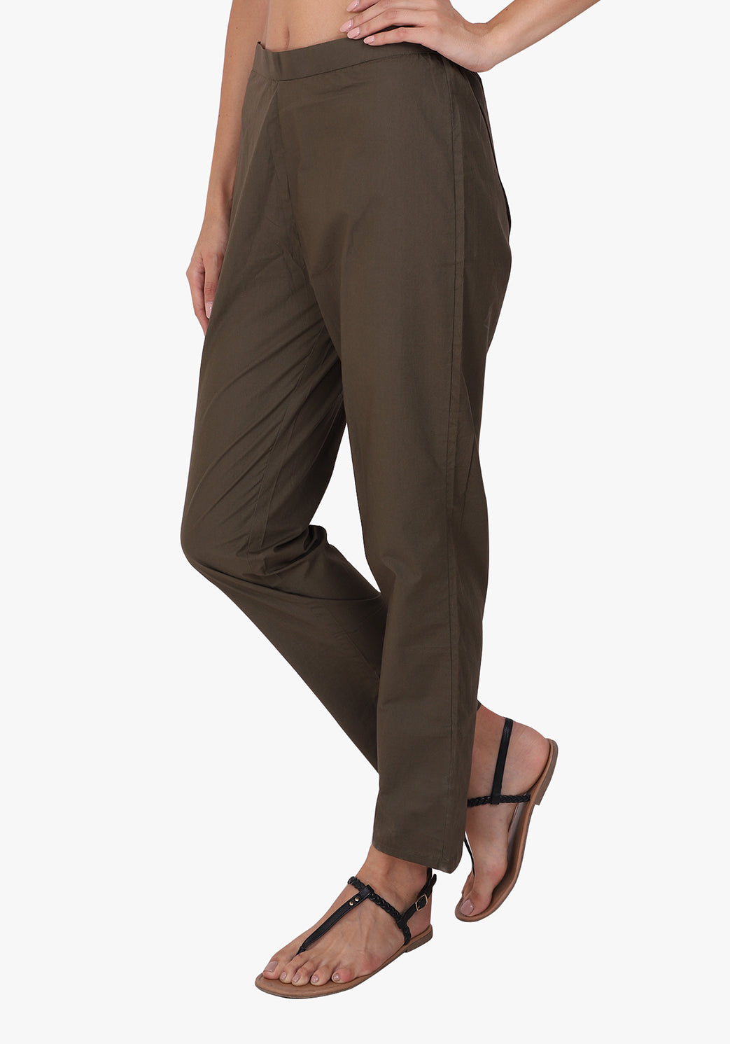 Basic Straight 100% Cotton Army Green Pant