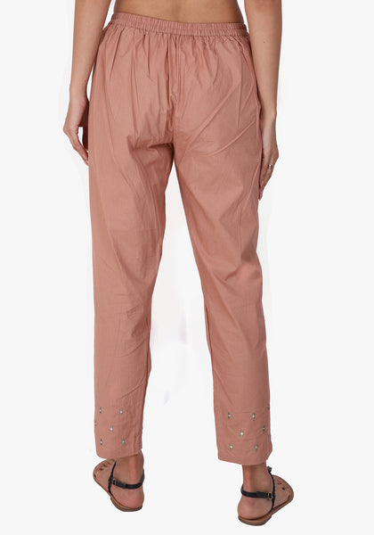Embroidered Straight 100% Cotton Autumn Blonde Pant