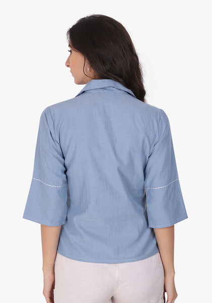 Denim Floral Embroidered Wan Blue Panelled Shirt