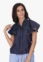 Load image into Gallery viewer, Denim Ruffled Sleeve Ombre Blue Shirt