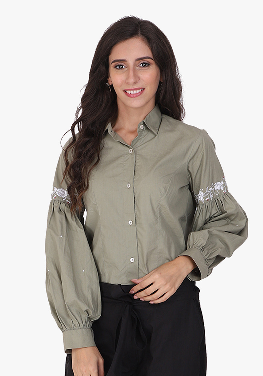 Embroidered Bishop Sleeve Fair Green Shirt