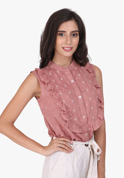 Dobby Frill Embroidered Yoke Pale Blush Shirt