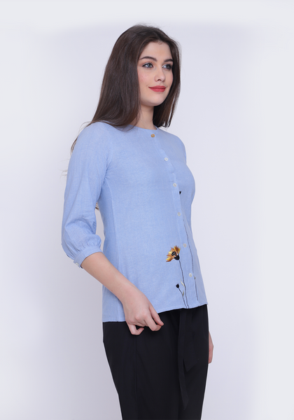 Floral Embroidered Chambray Wan Blue Shirt