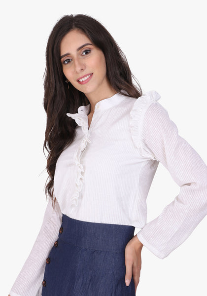 Dobby Frill Placket White Shirt