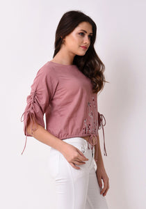 Floral Embroidered String Top - Pale Blush