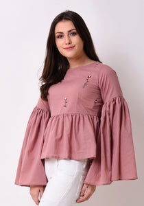 Gathered Flare Embroidered Top - Pale Blush