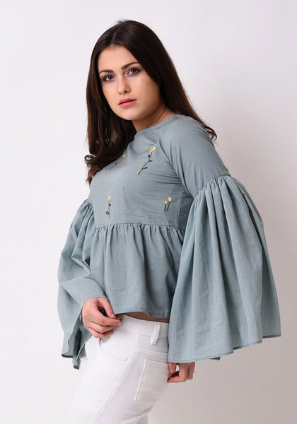 Gathered Flare Embroidered Top - Pale Aqua