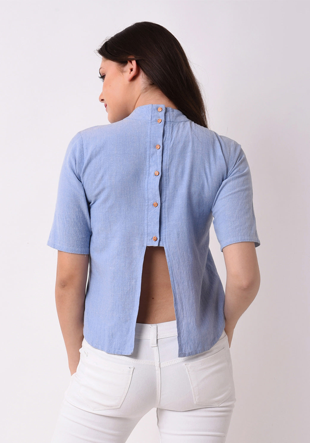 Chambray Embroidered Top - Wan Blue