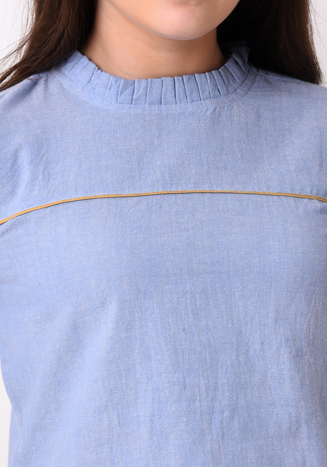 Chambray Cut Detail Top - Wan Blue