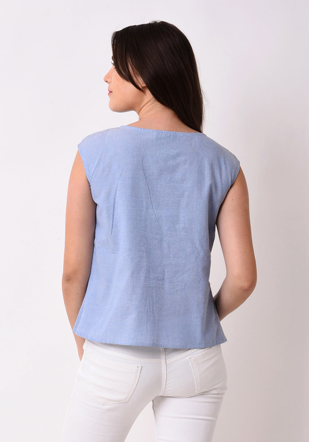 Chambray Pleated Top - Wan Blue