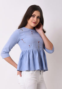 Floral Embroidered Chambray Top - Wan Blue
