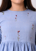 Load image into Gallery viewer, Floral Embroidered Chambray Top - Wan Blue