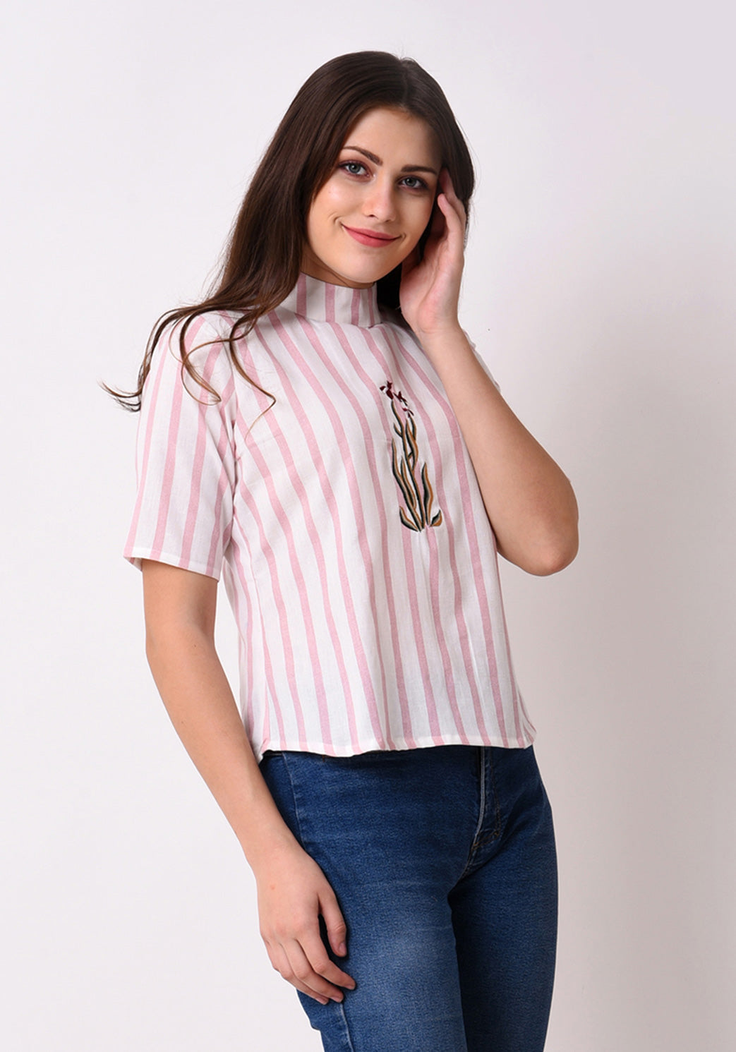 Striped Embroidered Back Button Top - Peach