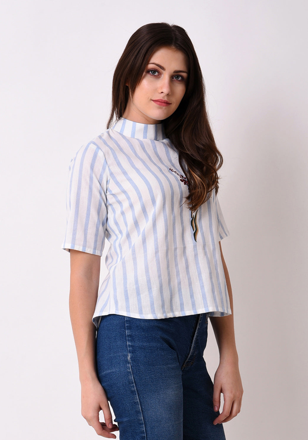 Striped Embroidered Back Button Top - Wan Blue