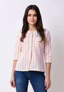 Striped Button Down Embroidered Top - Pale Blush
