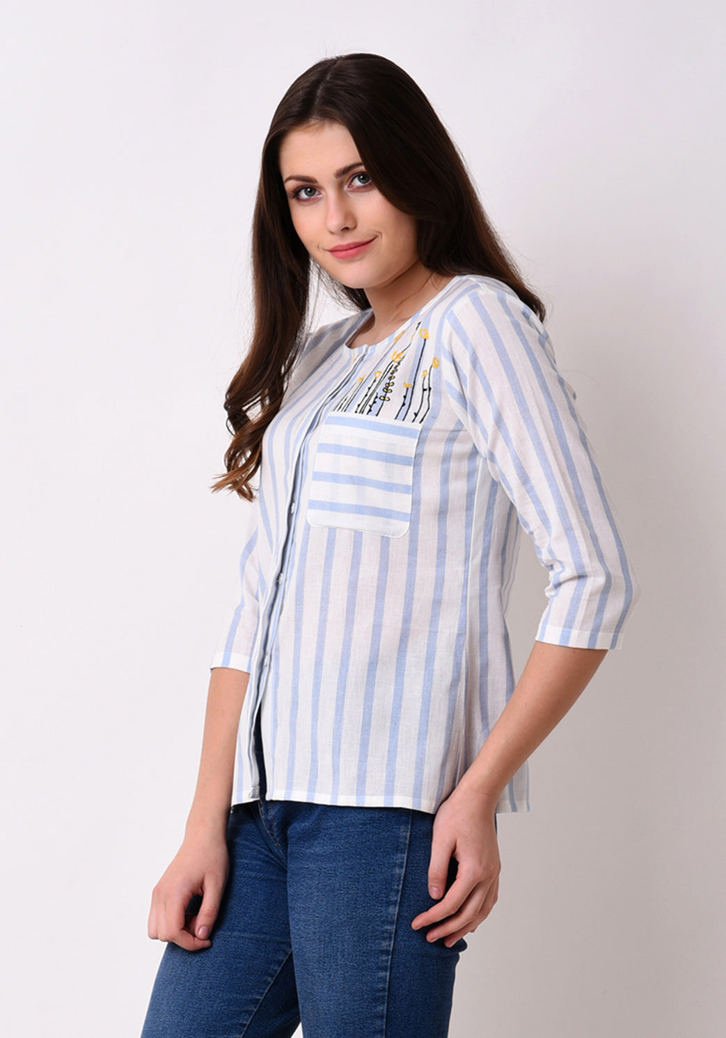 Button Down Embroidered Top - Wan Blue