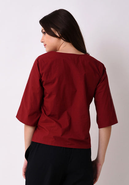 Floral Embroidered Top - Maroon