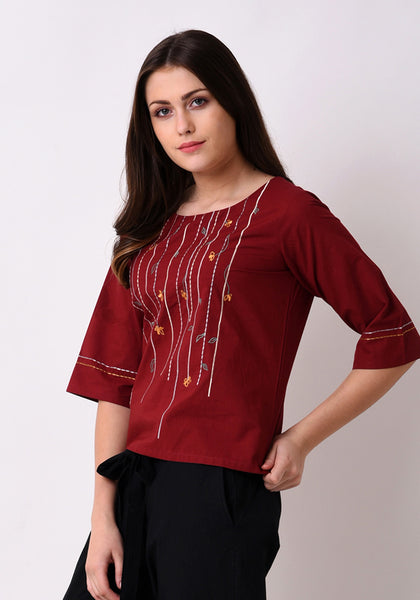 Meadow Floral Top - Maroon