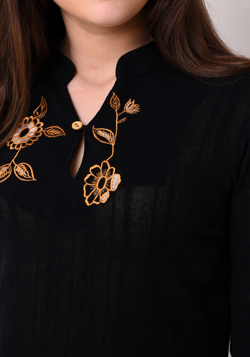 Crepe Dobby Embroidered Top - Black