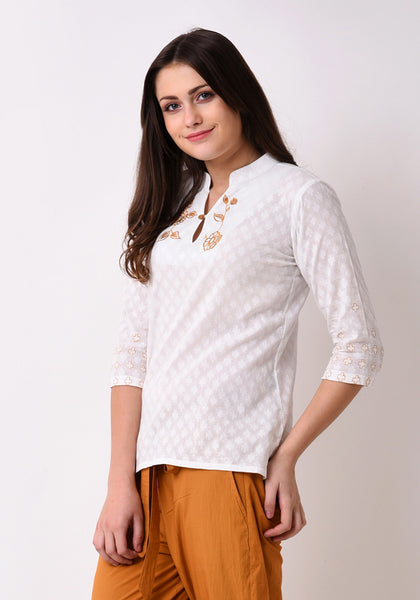 Doctor Dobby Embroidered Top - White