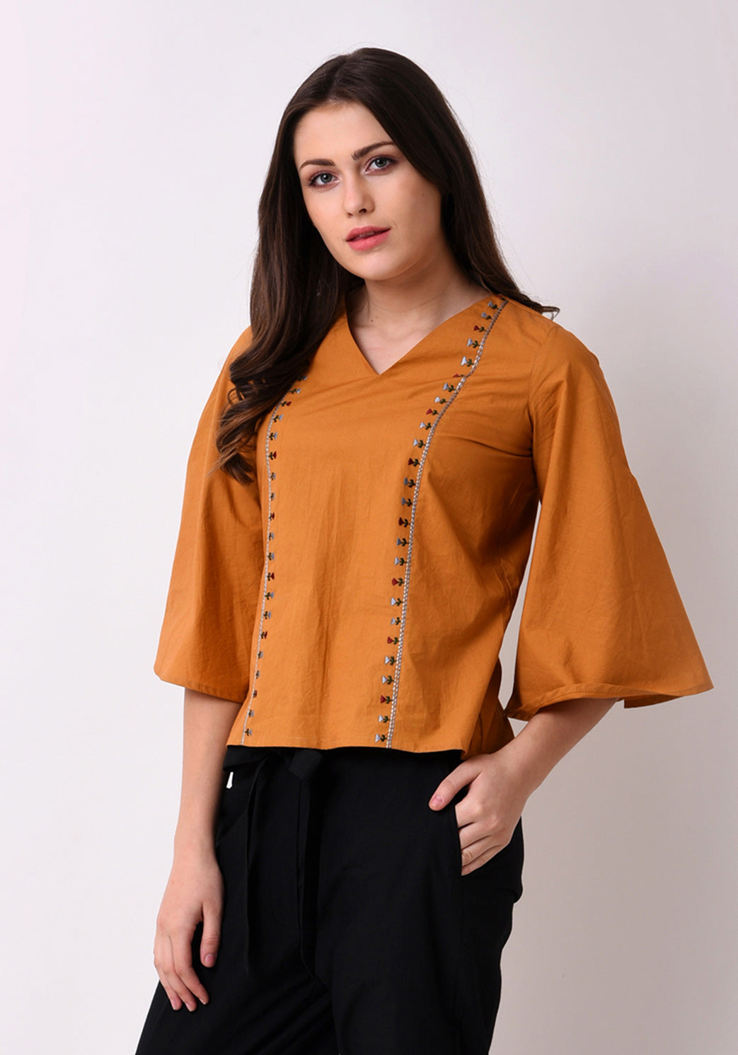 Tribal Embroidered Top - Mustard
