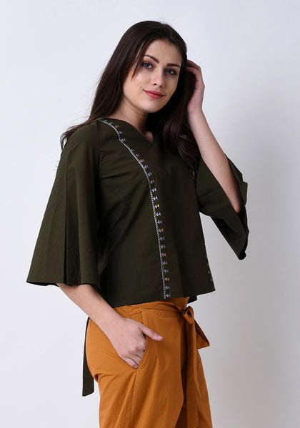 Tribal Embroidered Top - Army Green