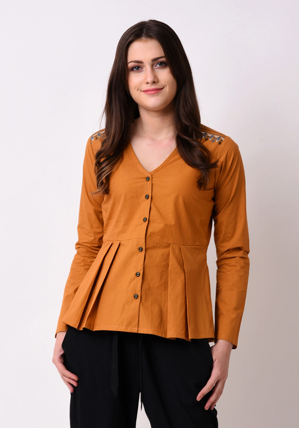 Pleated Embroidered Top- Mustard