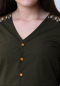 Pleated Embroidered Top- Army Green