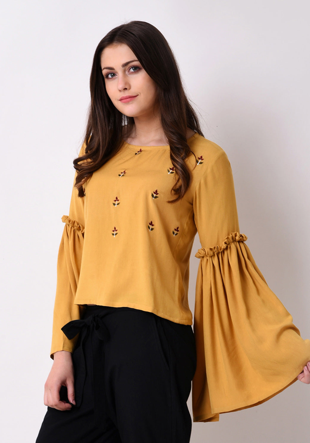 Front Embroidered Top - Sunflower Yellow