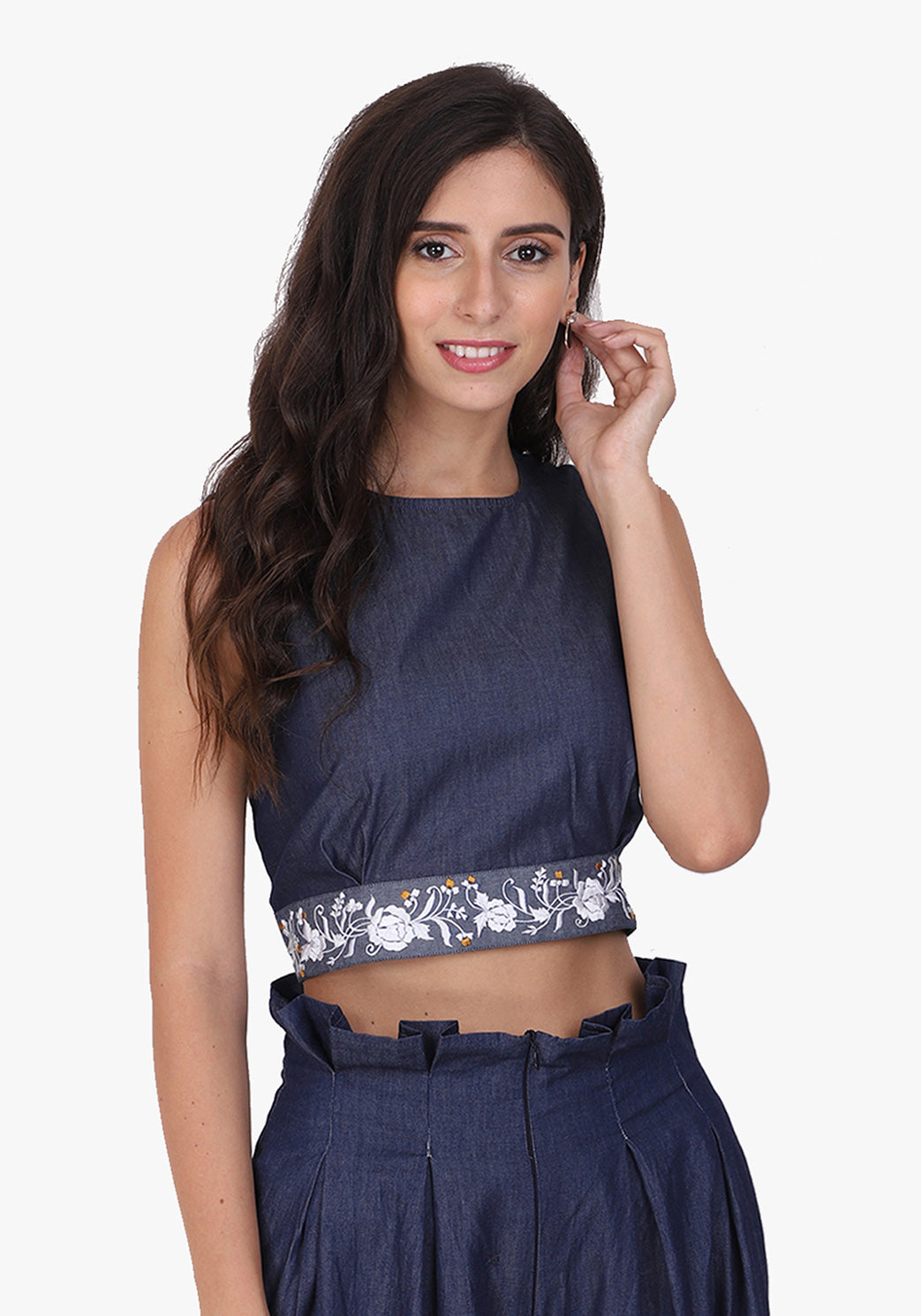 Denim Embroidered Ombre Blue Crop Top