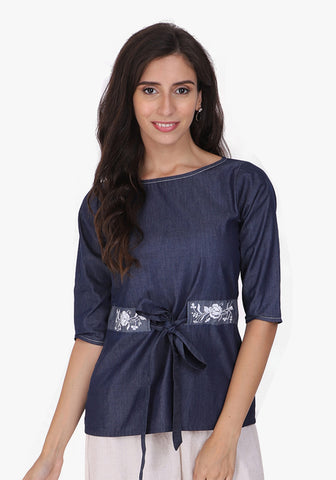 Denim Embroidered Tie-up Detailed Ombre Blue Top