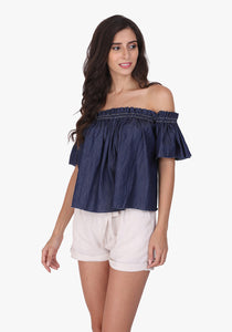Denim Off-shoulder Ombre Blue Top