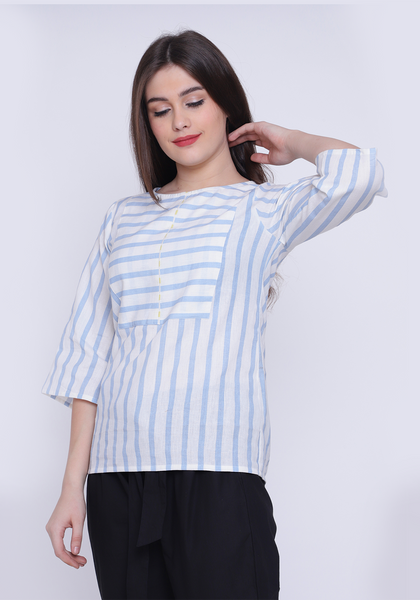 Yoke Detail Striped Wan Blue Top