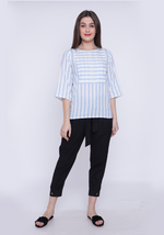Load image into Gallery viewer, Yoke Detail Striped Wan Blue Top